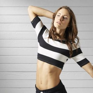 *NEW* Reebok Yoga Striped Crop Top